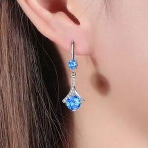 925 Sterling Silver Blue Diamond Dangle Earrings